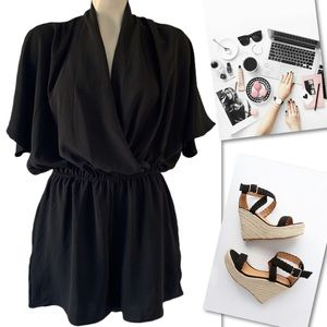 143 STORY BY LINE UP BLACK SHORT SLEEVE ROMPER L